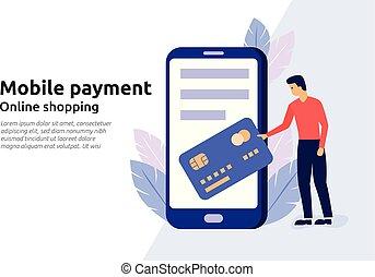 Mobile payment online service for modern business website, social media, documents, presentation. Vector illustration