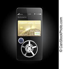 Mobile payment security concept for smart phone. Clipping...