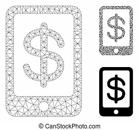 Mobile Payment Vector Mesh Wire Frame Model and Triangle Mosaic Icon