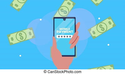 mobile payment with smartphone and bills ,4k video animated