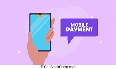 mobile payment with smartphone and coins ,4k video animated