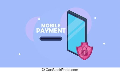 mobile payment with smartphone and shield ,4k video animated