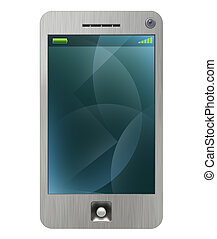 Mobile pda 3G phone with stylus white. Brushed metal