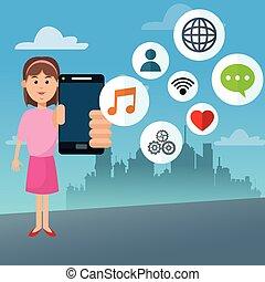 Mobile people cartoon design