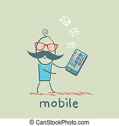 mobile, personne, message, reçoit