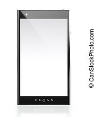 3D illustration of mobile phone with blank screen on white background