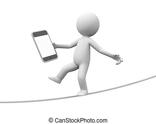 Mobile phone - A 3d man with a mobile phone walking on the...