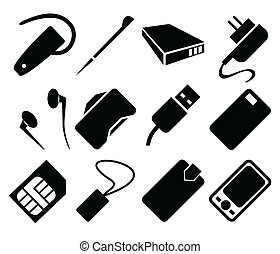 Mobile Phone Accessories Icon Set