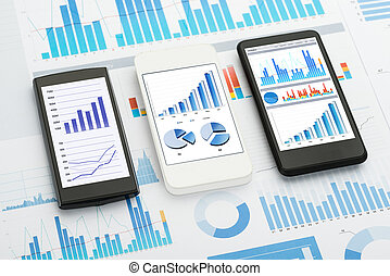 Mobile Phone Analytics - Mobile Phones With Analytics Graphs...