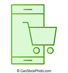 Mobile phone and cart flat icon. Smartphone with shopping cart green icons in trendy flat style. Shopping on smartphone gradient style design, designed for web and app. Eps 10.