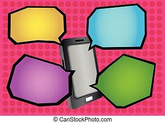 Mobile Phone and Cartoon Speech Balloons Vector Illustration