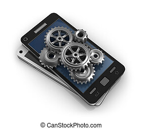Mobile phone and gears. Application