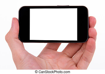 Hand holding smart, mobile phone with white blank screen, isolated on white background.