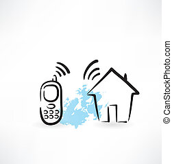 mobile phone and house connection grunge icon