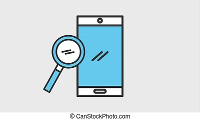 mobile phone and magnifier search technology animation hd