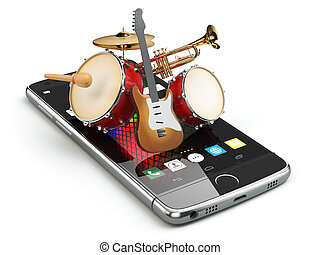 Mobile phone and musical instruments. Guitar, drums and ...