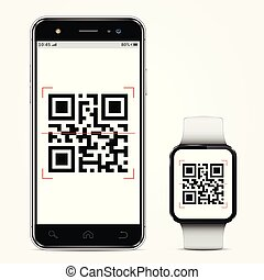 Mobile phone and smart watch with qr-code on screen