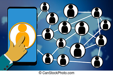 Mobile phone and social networking concept