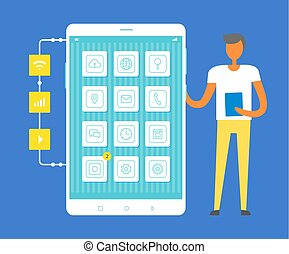 Mobile Phone and Standing Man Vector Illustration
