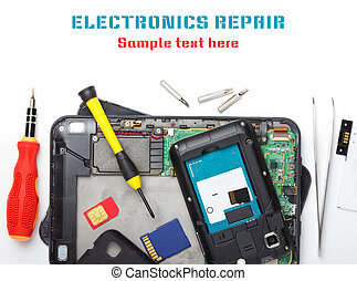 Mobile phone and tablet computer repair, isolated on white