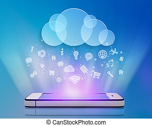 mobile phone application icons with cloud computing.