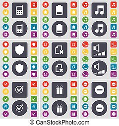 Mobile phone, Battery, Note, Badge, File, Volume, Tick, Gift, Minus icon symbol. A large set of flat, colored buttons for your design. Vector
