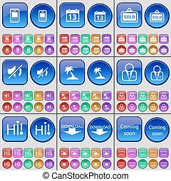 Mobile phone, Calendar, Sold, Mute, Palm, Avatar, Hi, Download, Coming soon. A large set of multi-colored buttons. Vector