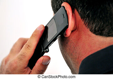 Mobile Phone Call - Concept photo of a man talking on a...