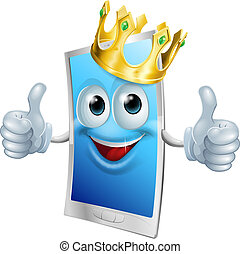 Mobile phone cartoon king - Illustration of a mobile phone...