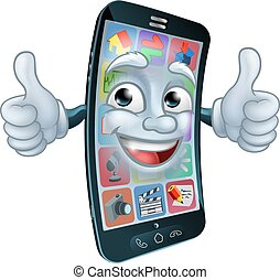 Mobile Phone Cell Mascot Cartoon Character
