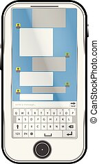 mobile phone chat with keyboard and dialogue