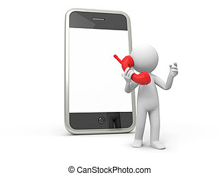 Mobile phone - A 3d person talking back to a mobile phone
