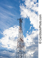 Mobile phone communication antenna tower with the blue sky and c