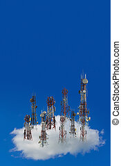 Mobile phone communication antenna tower with the blue sky and clouds