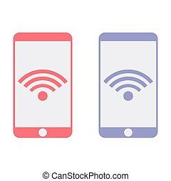 Mobile phone connected to Wi-Fi icon