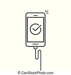 Mobile phone connected wire charger vector illustration,...