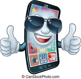 Mobile Phone Cool Shades Thumbs Up Cartoon Mascot - A mobile...