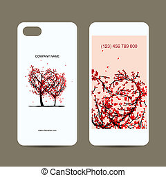 Mobile phone cover back and screen, love tree for your design