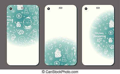 Mobile phone cover back set. Christmas doodle elements. Vector illustration