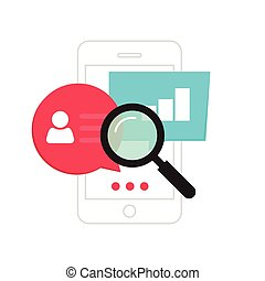 Mobile phone data analytics concept, smartphone social statistics analysis, audit