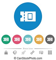 Mobile phone discount coupon flat round icons - Mobile phone...