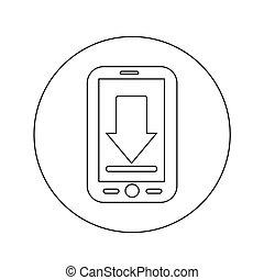 Mobile Phone Download Icon illustration design