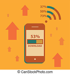 Mobile Phone Downloading on wifi  Vector illustration