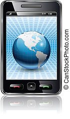 Mobile phone, smartphone with earth planet on screen,...