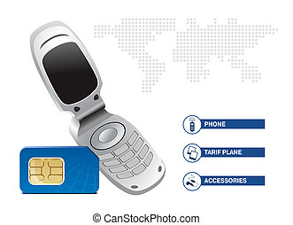 Mobile phone with SIM card on white background. Template...