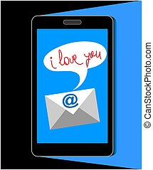 mobile phone thank you message concept in flat style human hand