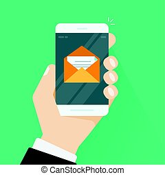 Mobile phone email vector, smartphone e-mail envelope message letter