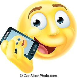 A emoji emoticon smiley face character talking happily on a mobile phone or cell phone