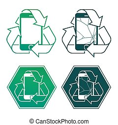 Mobile phone encircled by a recycling icon in four different...