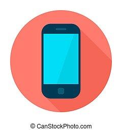 Mobile Phone Flat Circle Icon